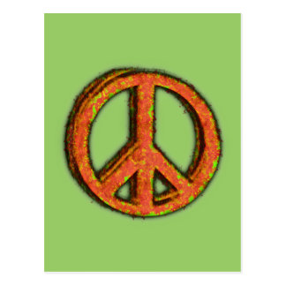 PEACE SIGN CORRODED POSTCARD