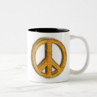 PEACE SIGN CORRODED Two-Tone COFFEE MUG