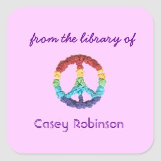 Peace sign custom bookplates - pink