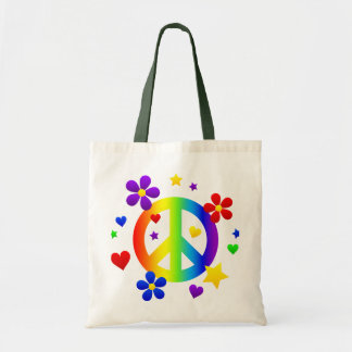 peace sign design tote bag