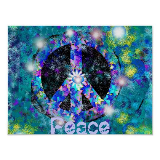 peace sign digital art poster