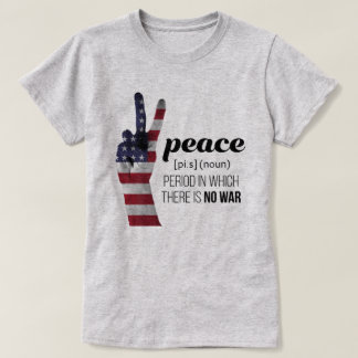 Peace Sign draped in American Flag - definition T-Shirt