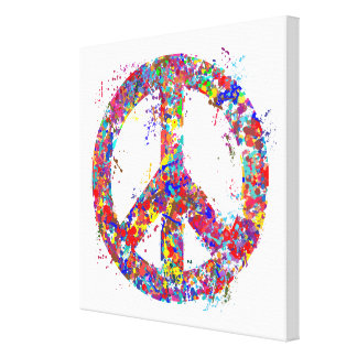 Peace Sign, Drip Art Canvas Print