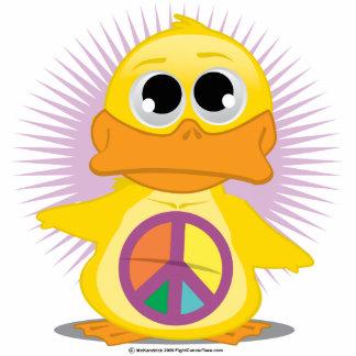Peace Sign Duck Standing Photo Sculpture