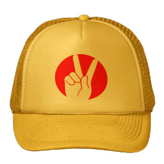 Peace sign fingers trucker hat