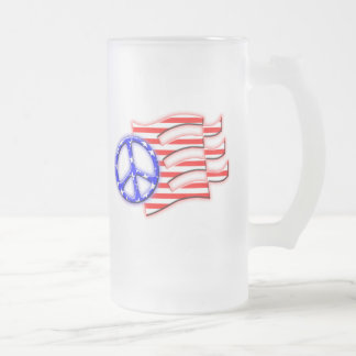 PEACE SIGN FLAG FROSTED GLASS BEER MUG