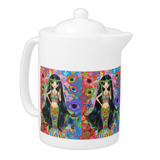 Peace Sign Flashing Psychedelic Mermaid Hippies Teapot