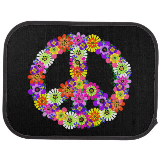 Peace Sign Floral Car Floor Mat