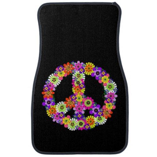 Peace Sign Floral Car Mat