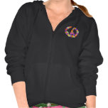 Peace Sign Floral Cutout Hooded Pullovers