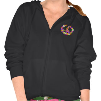 Peace Sign Floral Cutout Hooded Sweatshirt