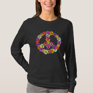 Peace Sign Floral Cutout T-Shirt