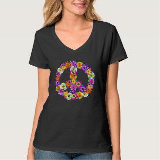 Peace Sign Floral Cutout T-Shirt