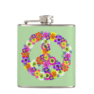 Peace Sign Floral Flask