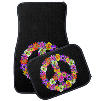 Peace Sign Floral Floor Mat