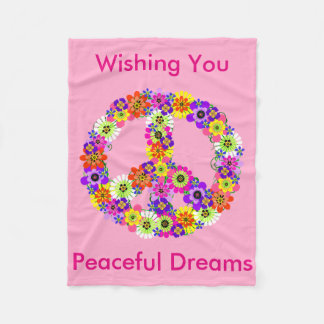 Peace Sign Floral in Baby Pink Peaceful Dreams Fleece Blanket