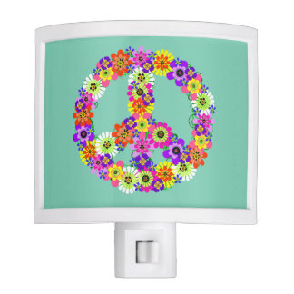 Peace Sign Floral on Aqua Night Light