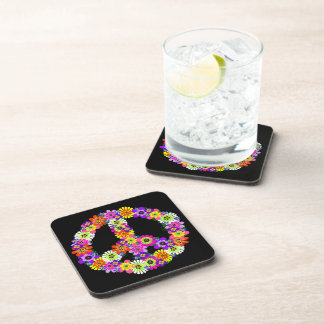 Peace Sign Floral on Black Coaster