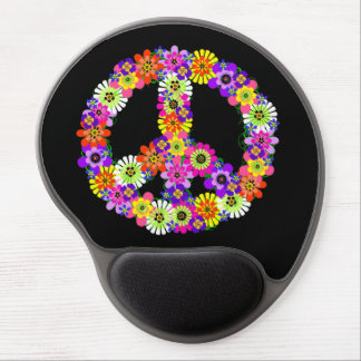 Peace Sign Floral on Black Gel Mouse Pad