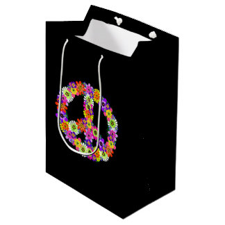 Peace Sign Floral on Black Medium Gift Bag