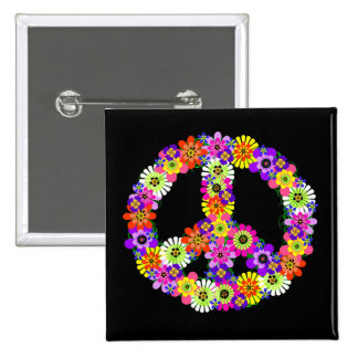 Peace Sign Floral on Black Pinback Button