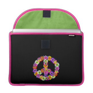 Peace Sign Floral on Black Sleeve For MacBooks