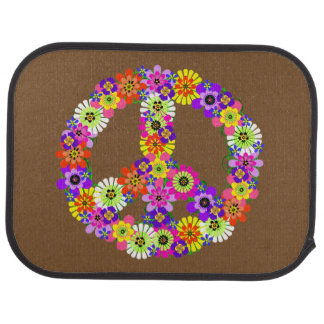 Peace Sign Floral on Brown Car Floor Mat