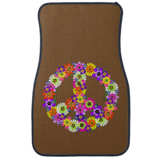 Peace Sign Floral on Brown Car Mat
