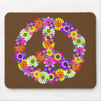 Peace Sign Floral on Brown Mouse Pad