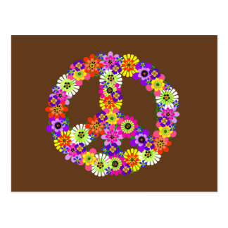 Peace Sign Floral on Brown Postcard
