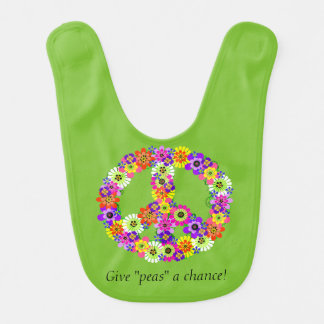 Peace Sign Floral on Lime Green Bib