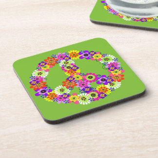 Peace Sign Floral on Lime Green Drink Coaster
