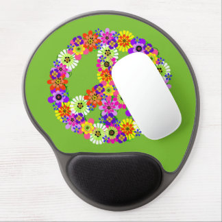 Peace Sign Floral on Lime Green Gel Mouse Pad