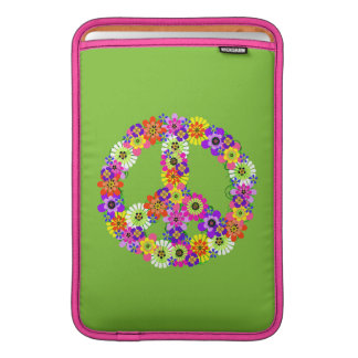 Peace Sign Floral on Lime Green MacBook Sleeves