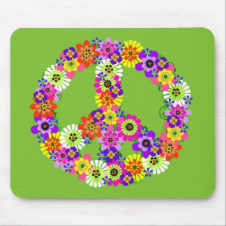 Peace Sign Floral on Lime Green Mouse Pad