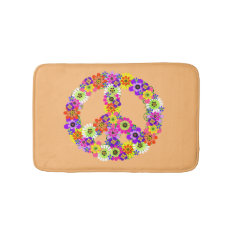 Peace Sign Floral On Peach Bathroom Mat at Zazzle