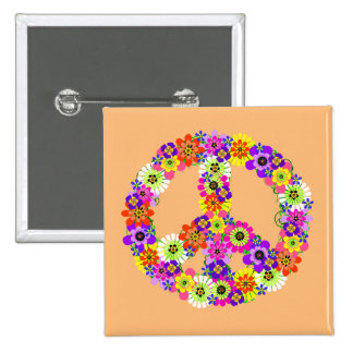 Peace Sign Floral on Peach Button