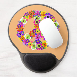 Peace Sign Floral on Peach Gel Mouse Pad