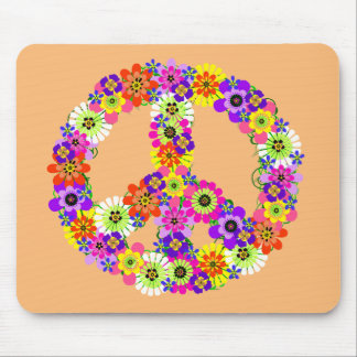 Peace Sign Floral on Peach Mouse Pad