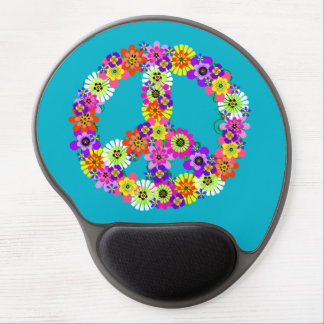 Peace Sign Floral on Turquoise Gel Mouse Pad