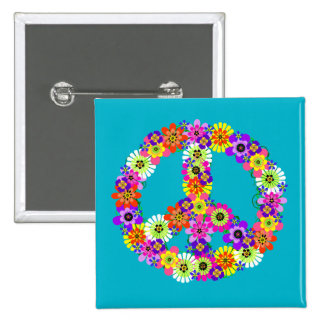 Peace Sign Floral on Turquoise Pinback Button
