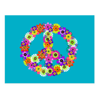 Peace Sign Floral on Turquoise Postcard