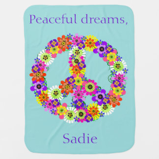 Peace Sign Floral Personalized in Blue Stroller Blanket