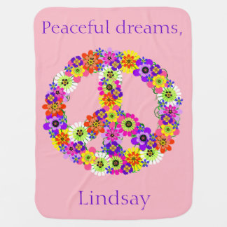 Peace Sign Floral Personalized in Pink Baby Blanket