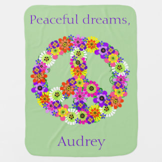 Peace Sign Floral Personalized Receiving Blanket
