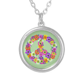 Peace Sign Floral Silver Plated Necklace