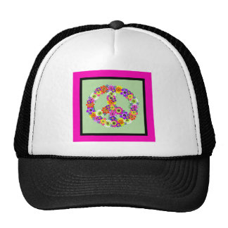 Peace Sign Floral with fuchsia & black border Trucker Hat