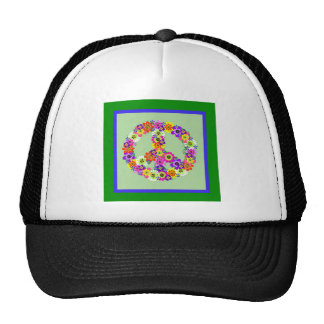Peace Sign Floral with green & blue border Trucker Hat