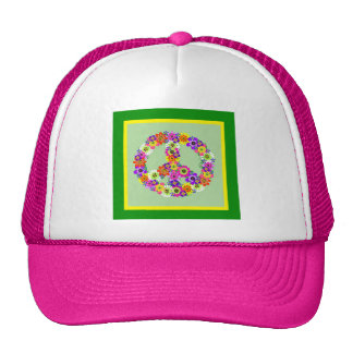 Peace Sign Floral with green & yellow border Trucker Hat