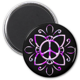 PEACE SIGN FLOWER 2 INCH ROUND MAGNET